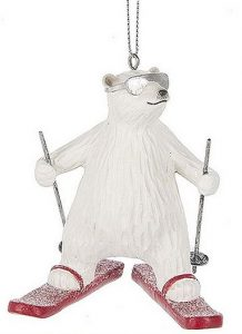 Skiing Polar Bear Ornament